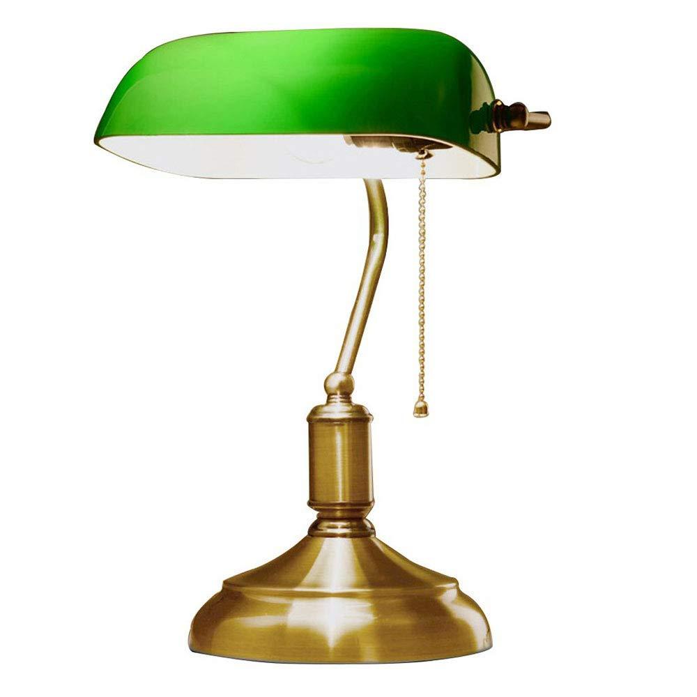K.D. Traditionelle Antiquitätenbanker es Schreibtisch Reading Table Lampe mit Grün Glass Shade und Alloy Lights Bottom E27 Japanese-Stil kreative Studie Schlafzimmer-Lampe