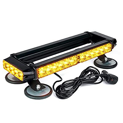 Xprite Amber 32 LED Strobe Flashing Light Bar, 21 Flash Modes Emergency Hazard Warning Beacon Lights with Magnetic Base for Tow Vehicles Trucks Car Trailer Tractor Snow Plow Roof Safety: Automotive