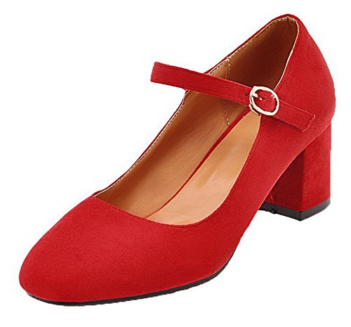 VogueZone009 Women's Buckle Closed-Toe Kitten-Heels Frosted Solid Pumps-Shoes Red GJDgFV