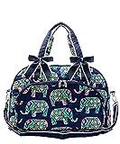 N. Gil Quilted Weekender Duffel Bag (Elephant Navy Blue)