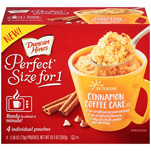 Duncan Hines Perfect Size for 1 Breakfast Muffin & Cake Mix, Ready in About a Minute, Cinnamon Coffee Cake, 4 Individual Pouches