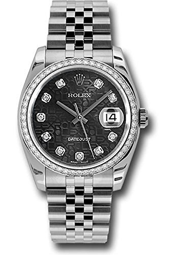 Rolex Datejust 36mm Stainless Steel Case, 18K White Gold Bezel Set With 52 Brilliant-Cut Diamonds, Black Jubilee Dial, Diamond Hour Markers, and Stainless Steel Jubilee Bracelet.