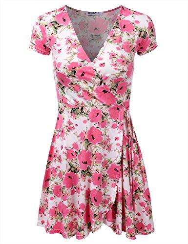 Cotta Doublju Del Le Più Donne Dimensione Vestito Avvolgere Awdsd0763 floralcoral line Manica Corta A qqxCEZwB