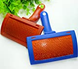 Pet Dogs Cats Rabbits Grooming Pin Comb Blue+Red Slicker Brush Trimmer Tool 1 PC