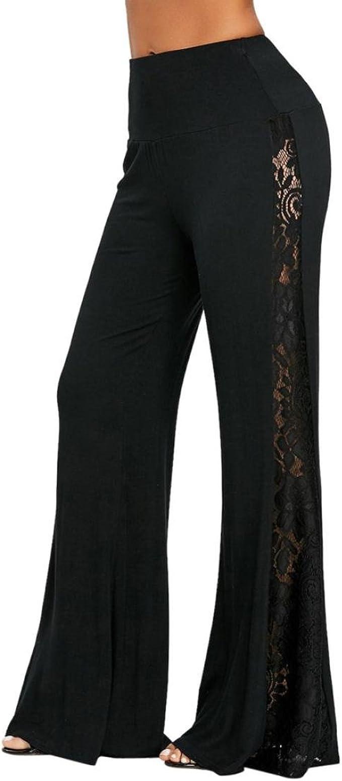 Pantalones Mujer, Pantalones anchos de la pierna del parte movible del cordón de la cintura alta de la moda de las mujeres Pantalones sueltos Leggings LMMVP: Amazon.es: Ropa y accesorios