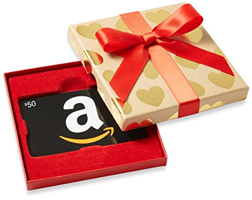 - Amazon.com $50 Gift Card in a Gold Hearts Box