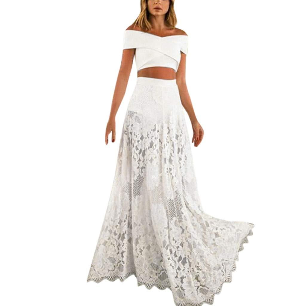 JJLIKER Women's Sexy Lace Backless Long Swing Dress Fashion Sleeveless Prom Gowns Elegant Party Wedding White