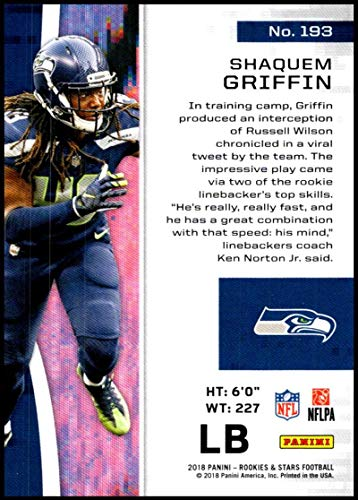 Amazon.com  2018 Panini Rookies and Stars  193 Shaquem Griffin NM-MT RC  Seattle Seahawks Official NFL Football Card  Collectibles   Fine Art bef2a2b89
