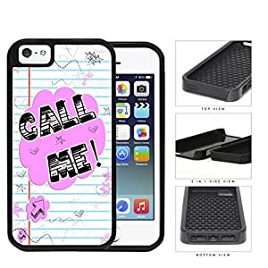 Call Me! Note With Stars And Hearts 2-Piece Dual Layer High Impact Rubber Silicone Cell Phone Case Apple iPhone 5 5s