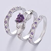 3PCs Irish Claddagh Celtic Heart Amethyst 925 Silver Wedding Ring Bridal Set New (7)