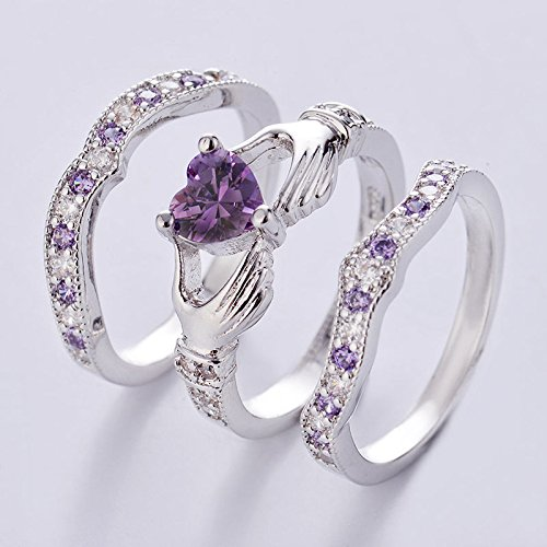 - 3PCs Irish Claddagh Celtic Heart Amethyst 925 Silver Wedding Ring Bridal Set New (7)