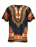 KlubKool Dashiki Shirt Tribal African Caftan Boho Unisex Top Shirt (Black/Orange,X-Large)