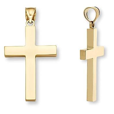 Mens 14k solid gold plain cross pendant necklace amazon mens 14k solid gold plain cross pendant necklace aloadofball Images