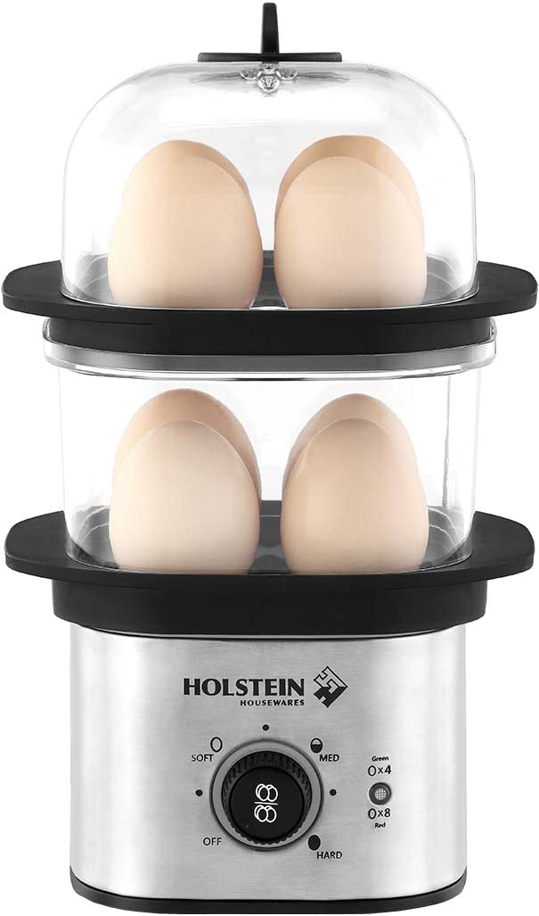 Holstein Housewares HH-09182001SS 8-Egg Capacity Two Tier Electric Egg Cooker, Black/Stainless Steel