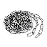 uxcellPet Dog Training Clothes Hanging 304 Stainless Steel Coil Chain Silver Tone M3x10Ft