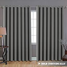 "Blackout Patio Grey Curtains, Extra Long and Wider (100""W by 108""L) Thermal Insulated Panel Premium Room Divider, No One Can See Through (9' Tall by 8.5' Wide) - Dove Grey"