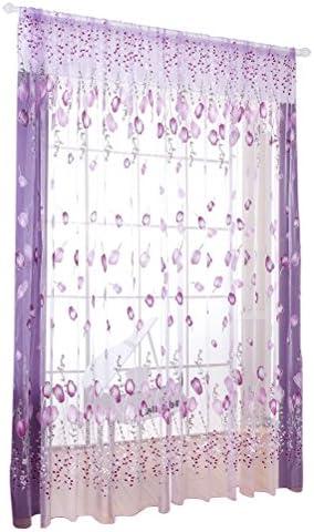 WINOMO – Tende voile da finestra, motivo: tulipani / fiori, con perline, per decorazione camera / salotto, 100x 200cm,  colore: Trasparente / Viola