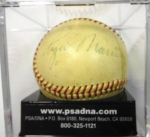 [Roger Maris, Mickey Mantle & Whitey Ford Signed American League Baseball New York Yankees Vintage Signature Graded 5 - PSA/DNA Authentication - Autographed MLB Baseballs] (Mickey Mantle Signature)