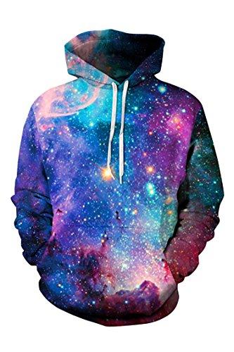 Cutiefox Womens Hot Galaxy Star Print Pullover Hoodie Sweatshirt Blue L