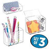 mDesign AFFIXX Peel and Stick Adhesive Locker, Office, Fridge, Bath Organizers - Holds Strong, Removes Cleanly, No Residue - (Set of 3), Clear