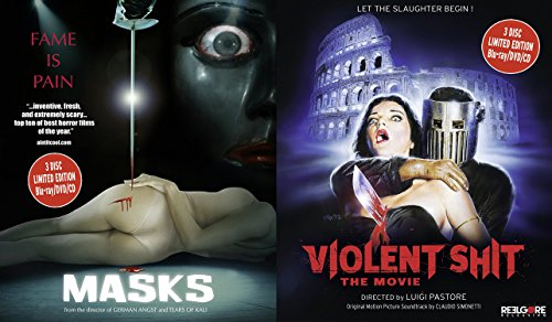 Violent Shit - The Movie & Masks (Blu-ray/DVD/CD) Gore Double Feature Horror Thriller Movie Set Numbered Limited Edition 3-disc sets with Booklet