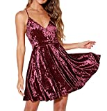 R.Vivimos Women's Crushed Velvet Spaghetti Straps Sexy V Neck Club Party Pleated Swing Skater Dress (Medium, Wine Red)