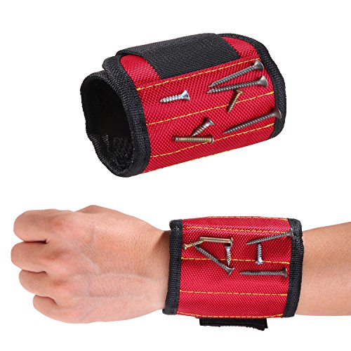 ZhaoCo Magnetic Wristband, Magnetic Armband (1 Pack) for Holding Screws, Nails, Bolts, Drill bits, Small Metal Tools - Best Tool Gift for DIY Handyman, Father/Dad, Husband,Boyfriend,etc.(Red)