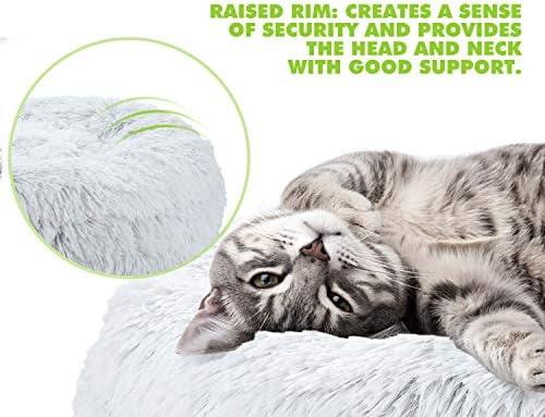 Pecute Lit Chat Rond en Peluche Coussin Chiots Panier pour Petit Animal de Domestique Lavable Antidérapant (55 * 15cm) (M)