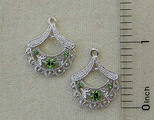- Peridot Crystal Rhinestone Silver Chandelier Filigree Fan Earring Bead Drops