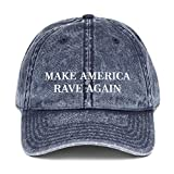 Make America Rave Again Hat (Embroidered Vintage Cotton Twill Cap) EDM Festival, Electronic House Navy