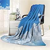 YOYI-HOME Luminous Microfiber Throw Duplex Printed Blanket Cloud Frame Skylight to Clear Sky Sunny Day Decorative Nature Picture Scene White Blue Blanket, Soft and Durable Polyester/W47 x H69