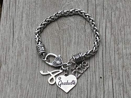 Personalized Graduation Bangle Bracelet With Letter Charm-Graduation Gift, Perfect Gift for Graduates, 2019 Edition