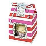 Meri Meri Pink and Red Striped Small Cupcake Box, 4-Pack