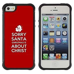 Suave TPU Caso Carcasa de Caucho Funda para Apple Iphone 5 / 5S / BIBLE Christmas Is About Christ / STRONG