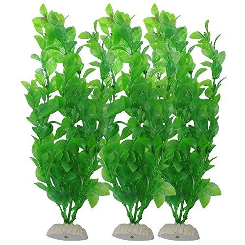 - YOY Aquarium Decor Fish Tank Decoration Ornament Artificial Plastic Plant/Grass Set of 3,Green