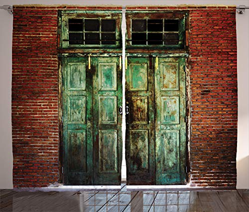 "Ambesonne Rustic Curtains, Rusty Old Door of Red Brick Wall House Dirty Doorway Front Exist Retro Textured Art Photo, Living Room Bedroom Window Drapes 2 Panel Set, 108"" X 84"", Green"