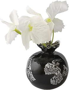 C&Z Hand Blown Glass Flower Vase for Plants Pomegranate Shaped Black Small Floral Bud Vases for Single Flower Home Decor Living Room Centerpiece