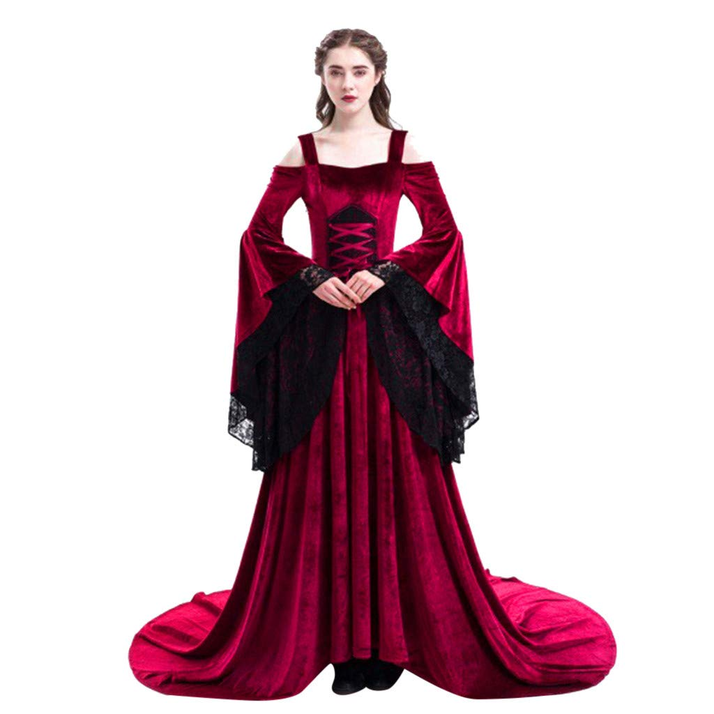 Sunyastor Womens Medieval Maxi Dress Renaissance Princess Girls Flared Sleeve Costume Gothic Vintage Victorian Party Gown Wine