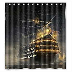"""Come Sail Away Nautical Sailing boat with American flagPEVA Shower Curtain,Bathroom decor 66"""" x 72"""" by sailing boat shower Curtain"""