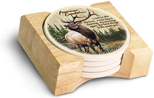 (American Expedition Set of 4 Stone Coasters (American Elk))