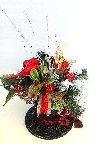 Top Hat Christmas decor centerpiece, Snowman Hat Holiday Table Décor, Christmas Arrangement, floral arrangement, table centerpiece]()
