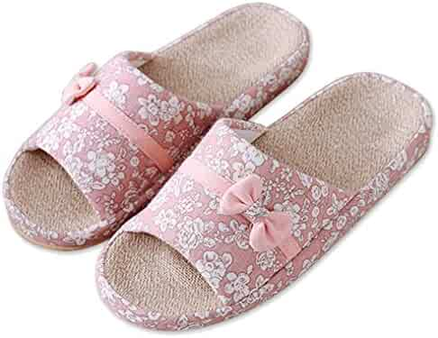 19d6031847e Blubi Women s Summer Floral Flax Comfortable Ladies Slippers Bedroom  Slippers