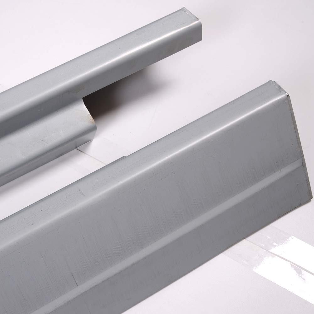 New Silver Compatible For Silverado Sierra 4 Door Crew Cab 2001-2007 Metal Rocker Panels Left and Right Side Set of 2