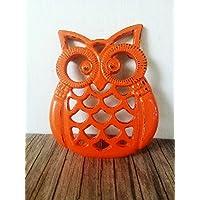 Bright Orange Heavy Duty Cast Iron Owl Kitchen Trivet - Woodland Animal Decor - Unique Housewarming Gift