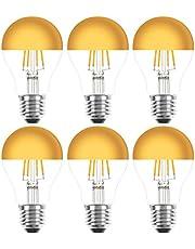 6 x LED-gloeilamp gloeilamp 4 W = 40 W E27 kopspiegel goud extra warm wit 2200 K retro nostalgie