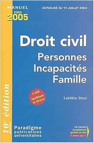 Lire en ligne Droit civil : Personnes Incapacités Famille pdf epub