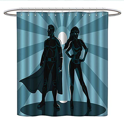 Anshesix Superherohookless Shower curtainMan and Woman Superheroes Costume