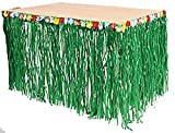 2 X Fun Express Hawaiian Luau Hibiscus Green Table Skirt 9Ft Party Toy