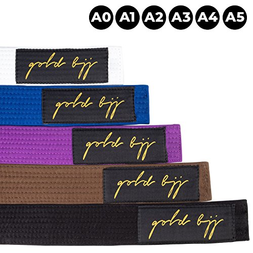 - Gold BJJ Jiu Jitsu Belt - Premium Heavyweight IBJJF Legal Belts - White, Blue, Purple, Brown, Black - A0, A1, A2, A3, A4, A5 - Rank Bar for Stripes (Blue, A3)