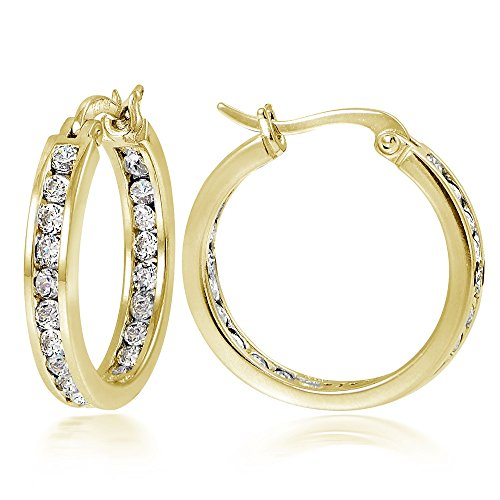 Hoops & Loops Gold Flash Sterling Silver Cubic Zirconia Inside Out Channel-Set 20mm Round Hoop ()